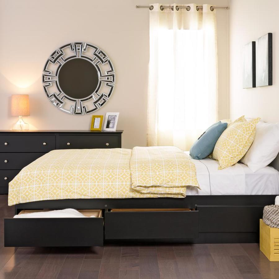 Prepac Mate S Black Queen Platform Bed With Storage In The Beds Department At Lowes Com