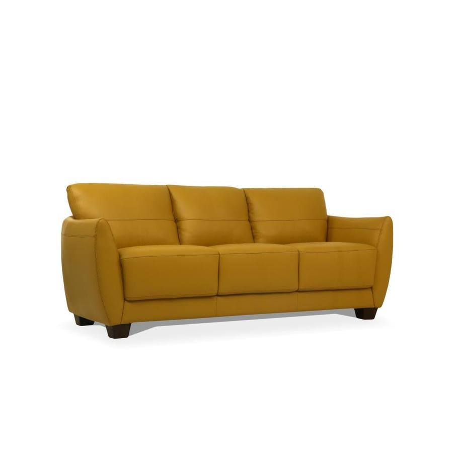 Acme Furniture Valeria Modern Mustard Leather Sofa In The Couches Sofas Loveseats Department At Lowes Com
