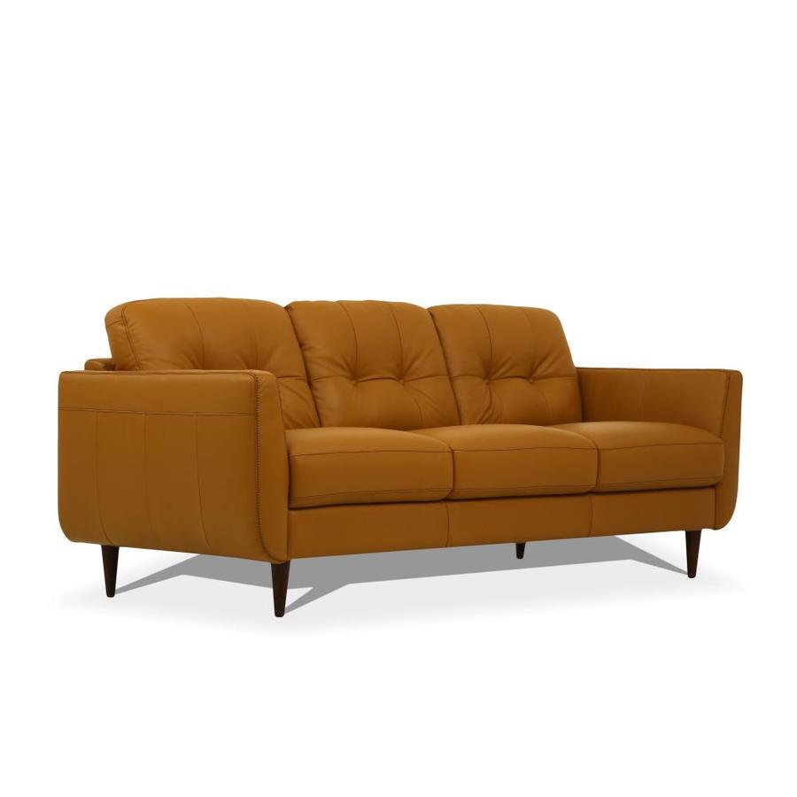 Acme Furniture Radwan Modern Camel Leather Sofa In The Couches Sofas Loveseats Department At Lowes Com