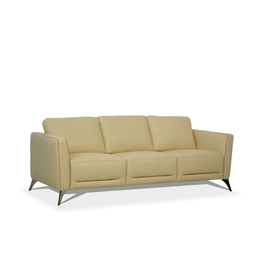 Acme Furniture Malaga Modern Cream Leather Sofa In The Couches Sofas Loveseats Department At Lowes Com