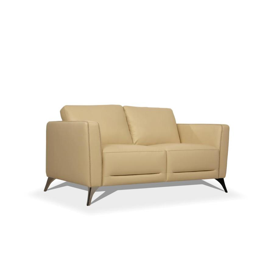 Acme Furniture Malaga Modern Cream Leather Loveseat In The Couches Sofas Loveseats Department At Lowes Com