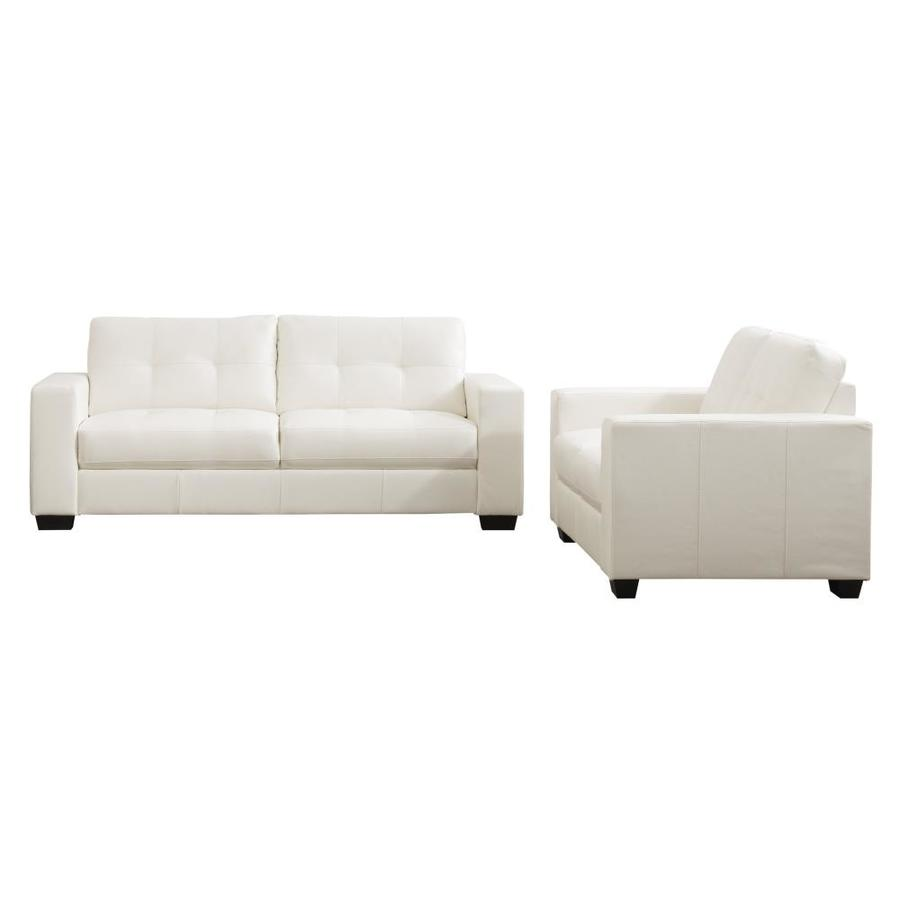 Corliving Club Modern White Faux Leather Sofa In The Couches Sofas Loveseats Department At Lowes Com