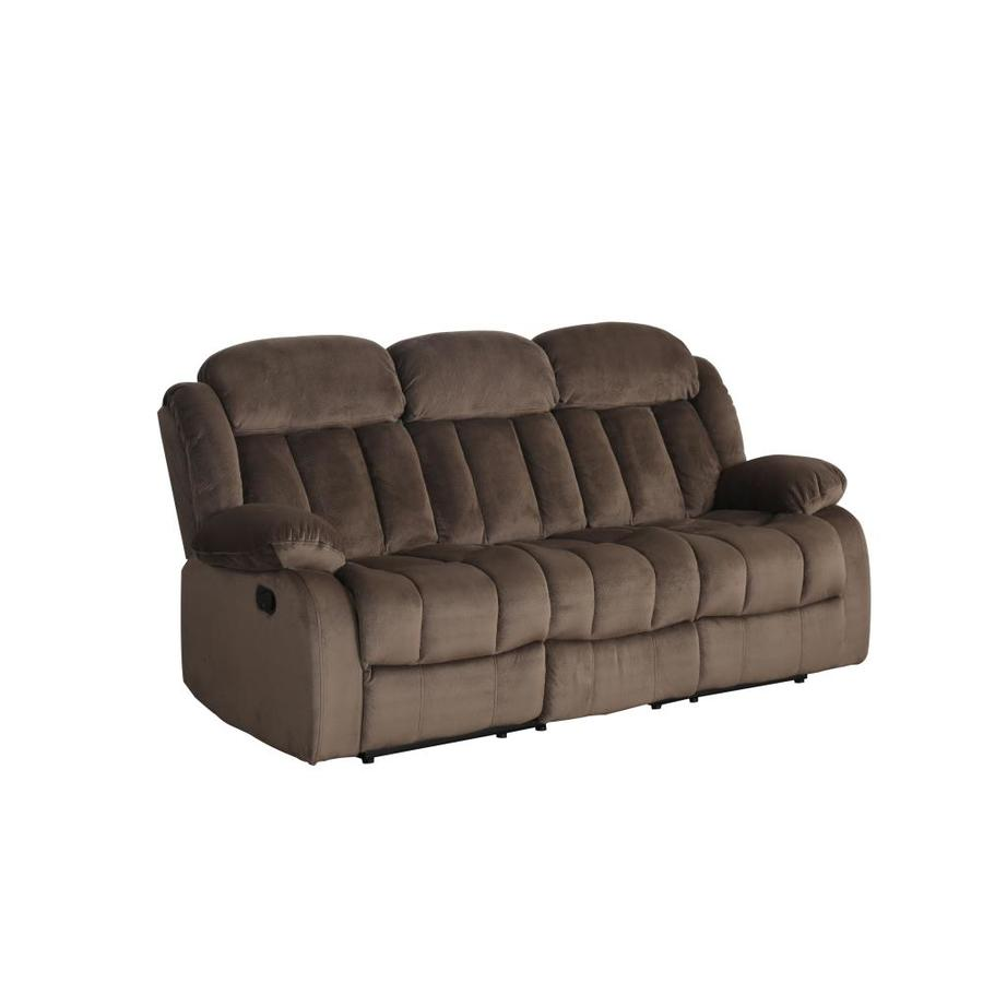 Sunset Trading Teddy Bear Casual Cocoa Brown Microfiber Reclining Sofa In The Couches Sofas Loveseats Department At Lowes Com