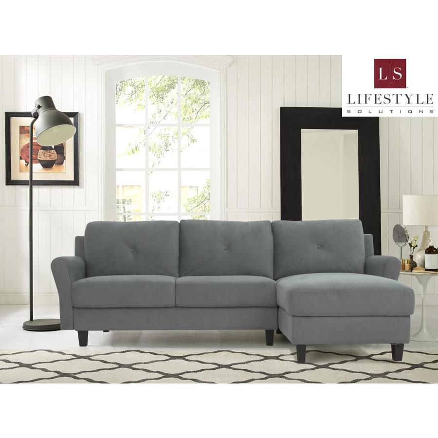 Lifestyle Solutions Casual Dark Grey Microfiber Sectional In The Couches Sofas Loveseats Department At Lowes Com