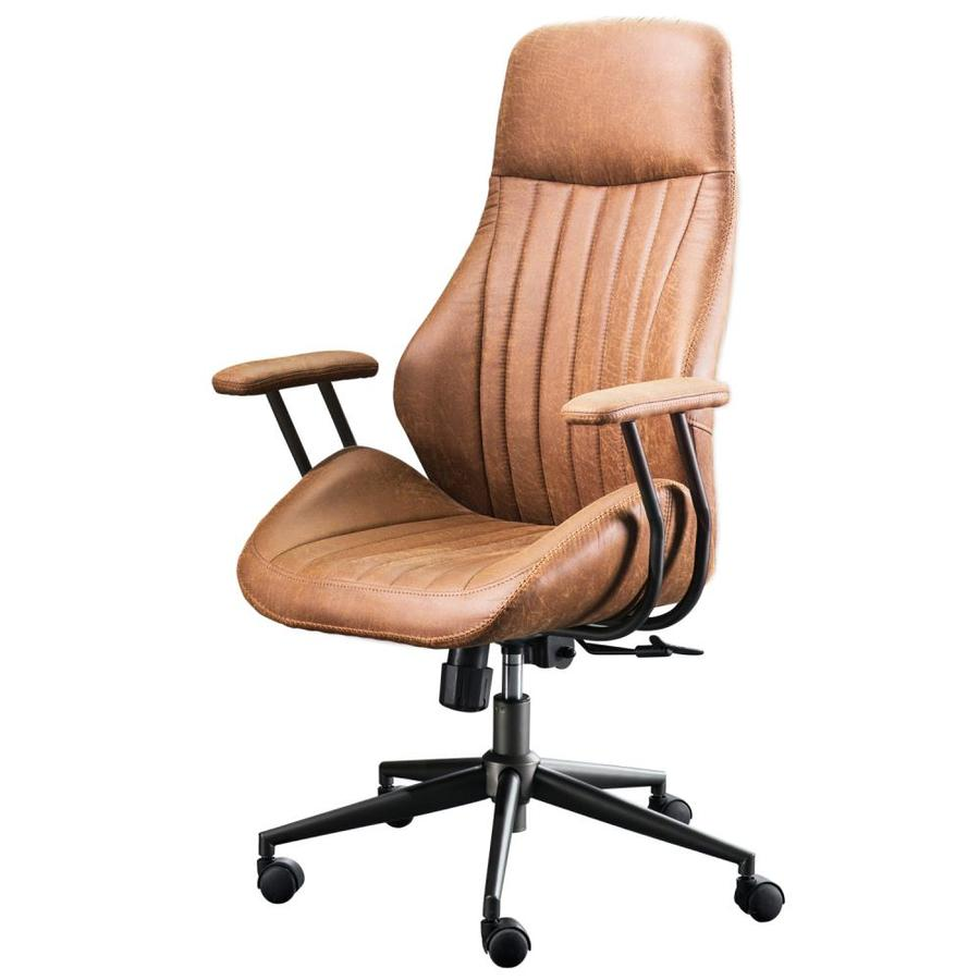 Ovios Krellack Light Brown Contemporary Ergonomic Adjustable Height Swivel Desk Chair In The Office Chairs Department At Lowes Com