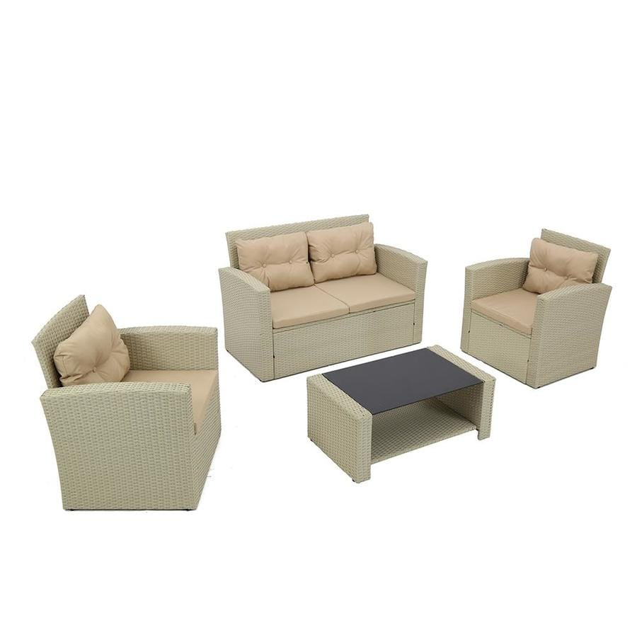 Casainc Patio Furniture 4 Piece Metal Frame Patio Conversation Set With Cushions In The Patio Conversation Sets Department At Lowes Com