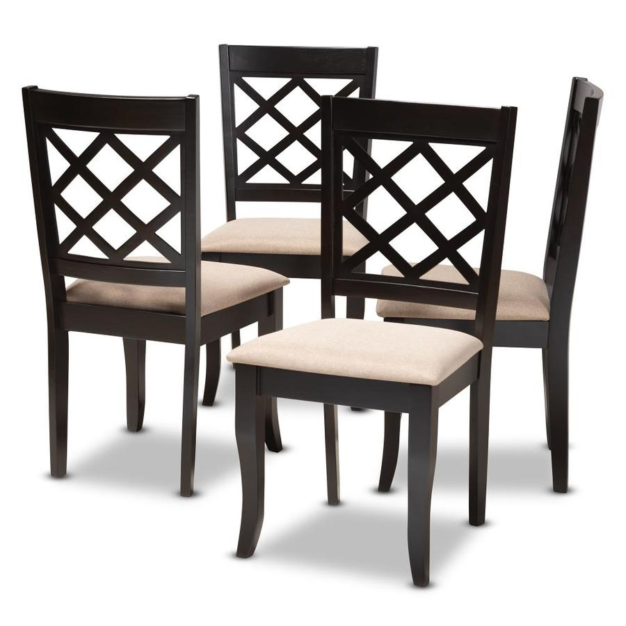 Baxton Studio Set Of 4 Verner Contemporary Modern Linen Upholstered Dining Side Chair Wood Frame In The Dining Chairs Department At Lowes Com