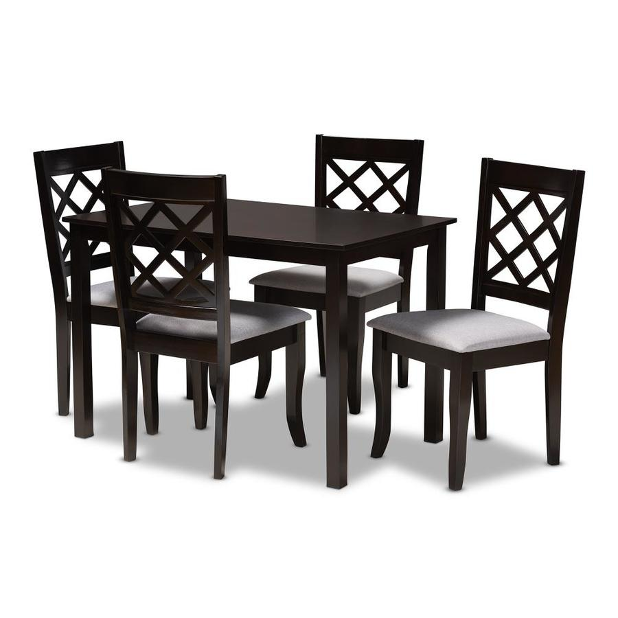 Baxton Studio Verner Gray Espresso Dining Room Set With Rectangular Table In The Dining Room Sets Department At Lowes Com
