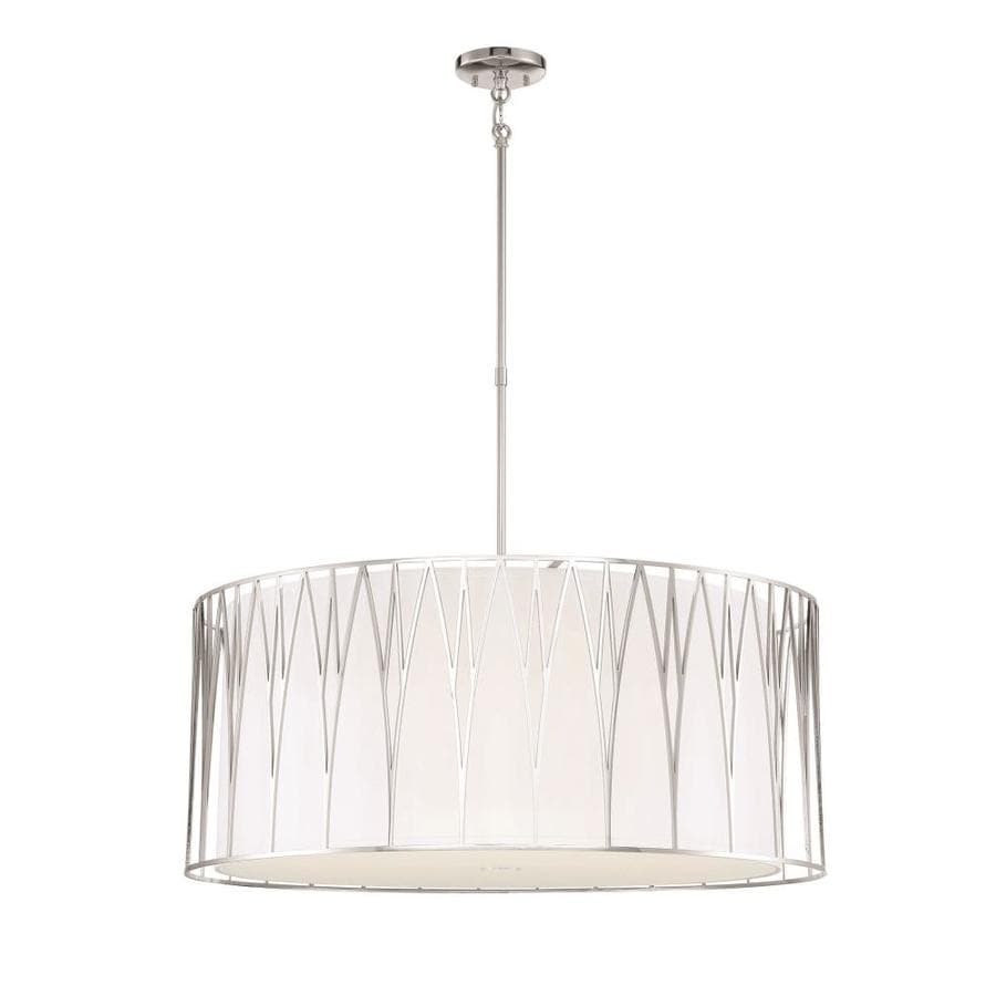 Minka Lavery Regal Terrace Polished Nickel Modern Contemporary Drum Led Pendant Light In The Pendant Lighting Department At Lowes Com