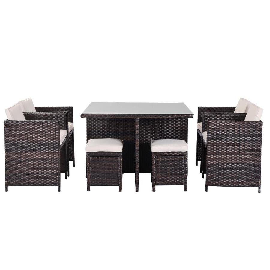 Kinwell Kinwell Outdoor Patio Furniture 9 Piece Resin Frame Patio Conversation Set With Cushions In The Patio Conversation Sets Department At Lowes Com