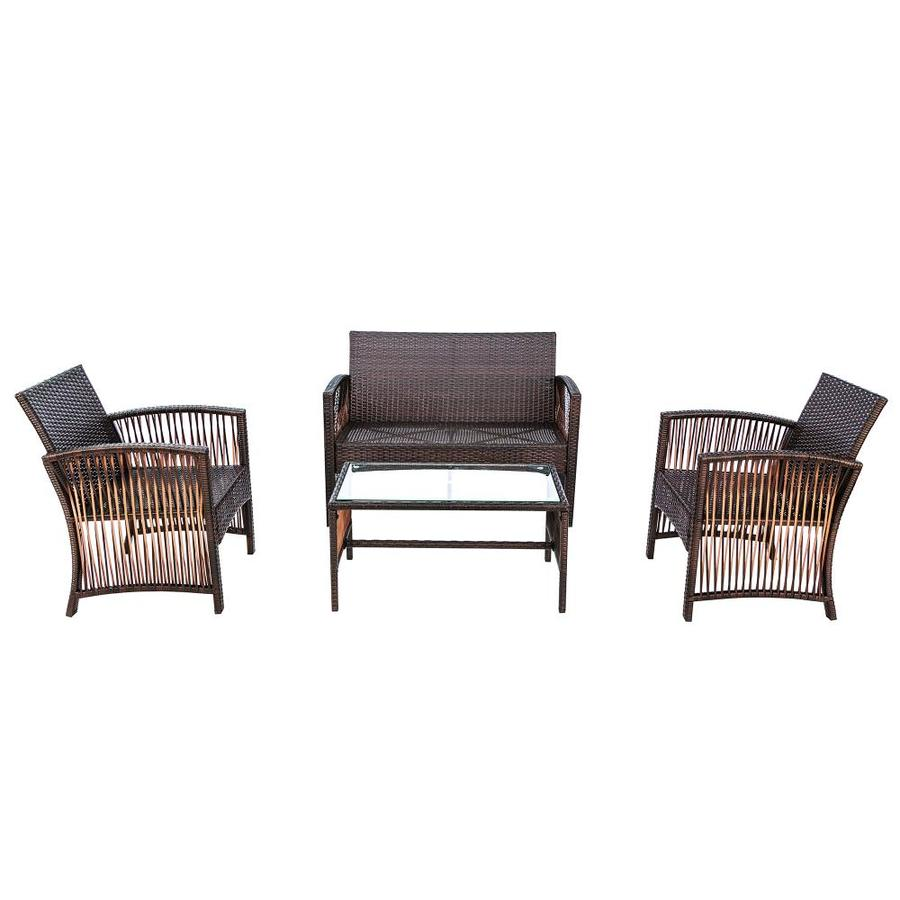 Kinwell Kinwell Outdoor Patio Furniture 4 Piece Resin Frame Patio Conversation Set With Cushions In The Patio Conversation Sets Department At Lowes Com