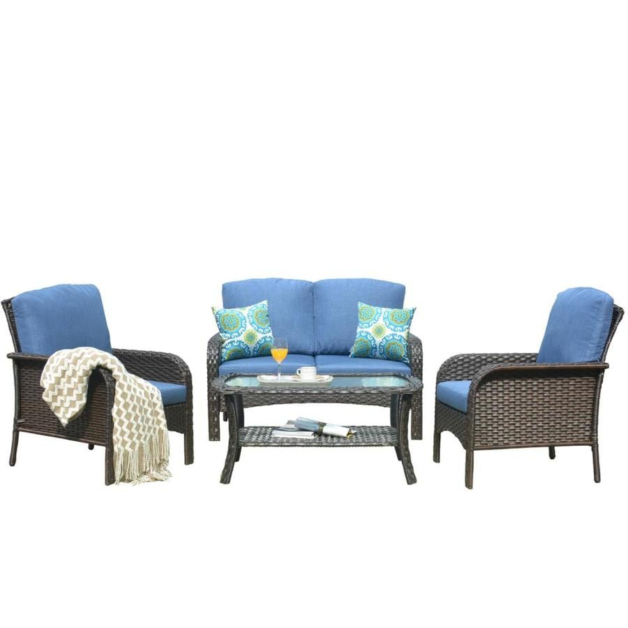 Ovios New Augtus 4 Piece 4 Piece Metal Frame Patio Conversation Set With Cushions In The Patio Conversation Sets Department At Lowes Com