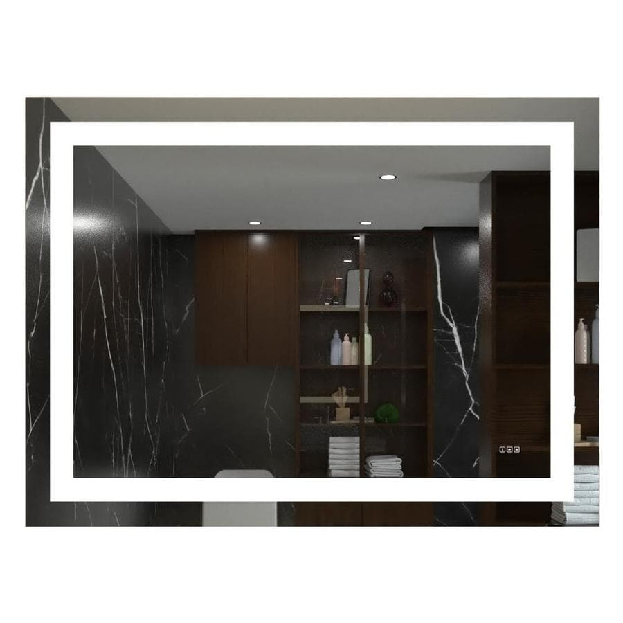 Kinwell Kinwell Led Bathroom Wall Mounted Mirror 57 In Clear Rectangular Lighted Led Bathroom Mirror In The Bathroom Mirrors Department At Lowes Com