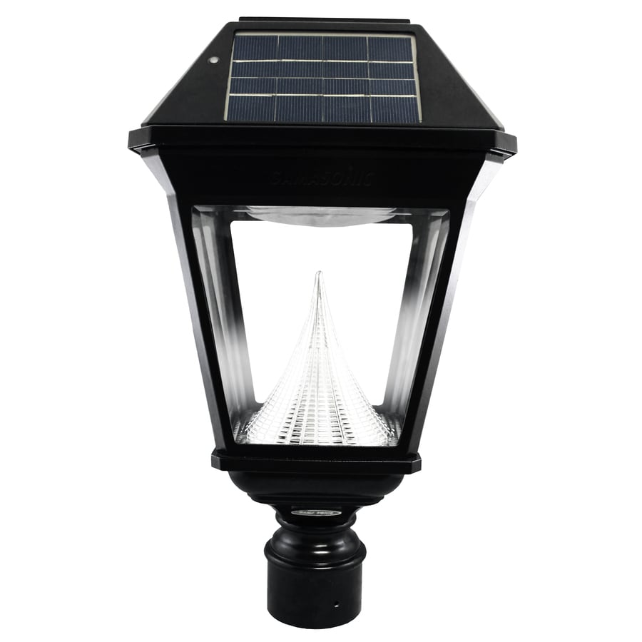 Solar Lamp Post Gama Sonic Imperial 2 19 In H Black Solar Led Post Light At Lowes