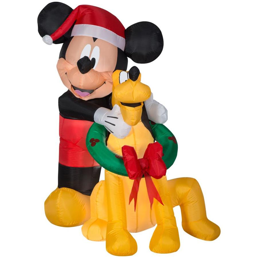 Pluto Mickey Disney 4 99 Ft Lighted Mickey Mouse Christmas Inflatable At Lowes