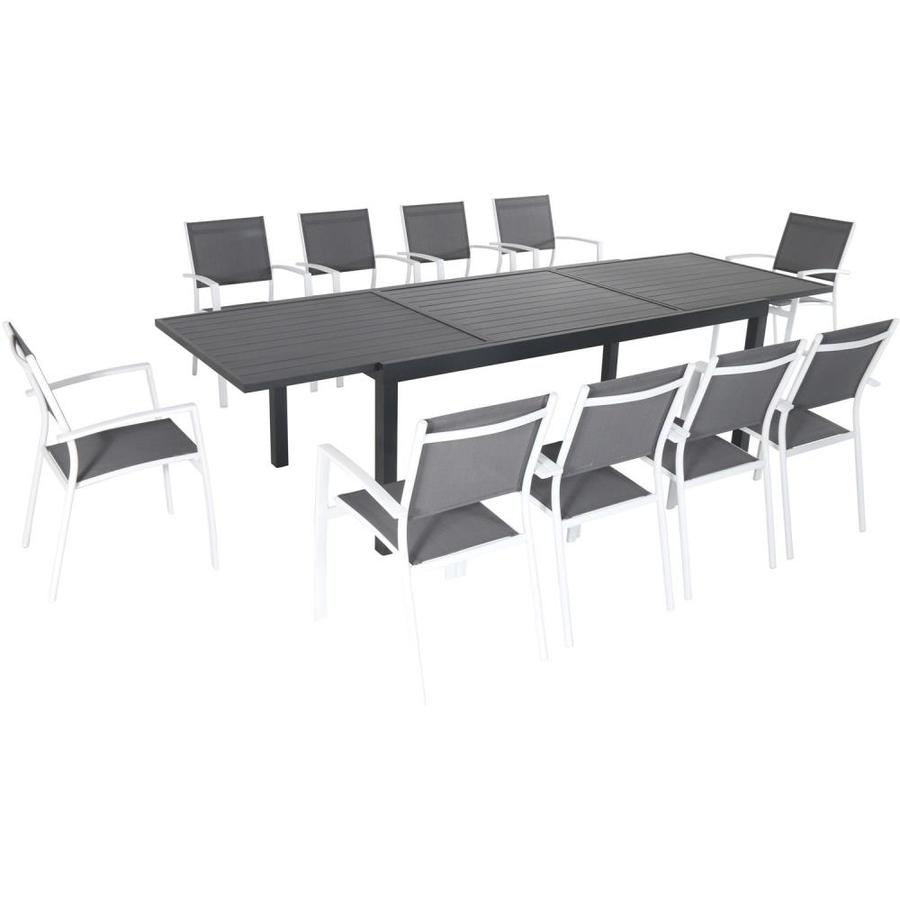 10 Seat Dining Table Set Hanover Naples 11 Piece Outdoor Dining Set With 10 Sling Chairs In