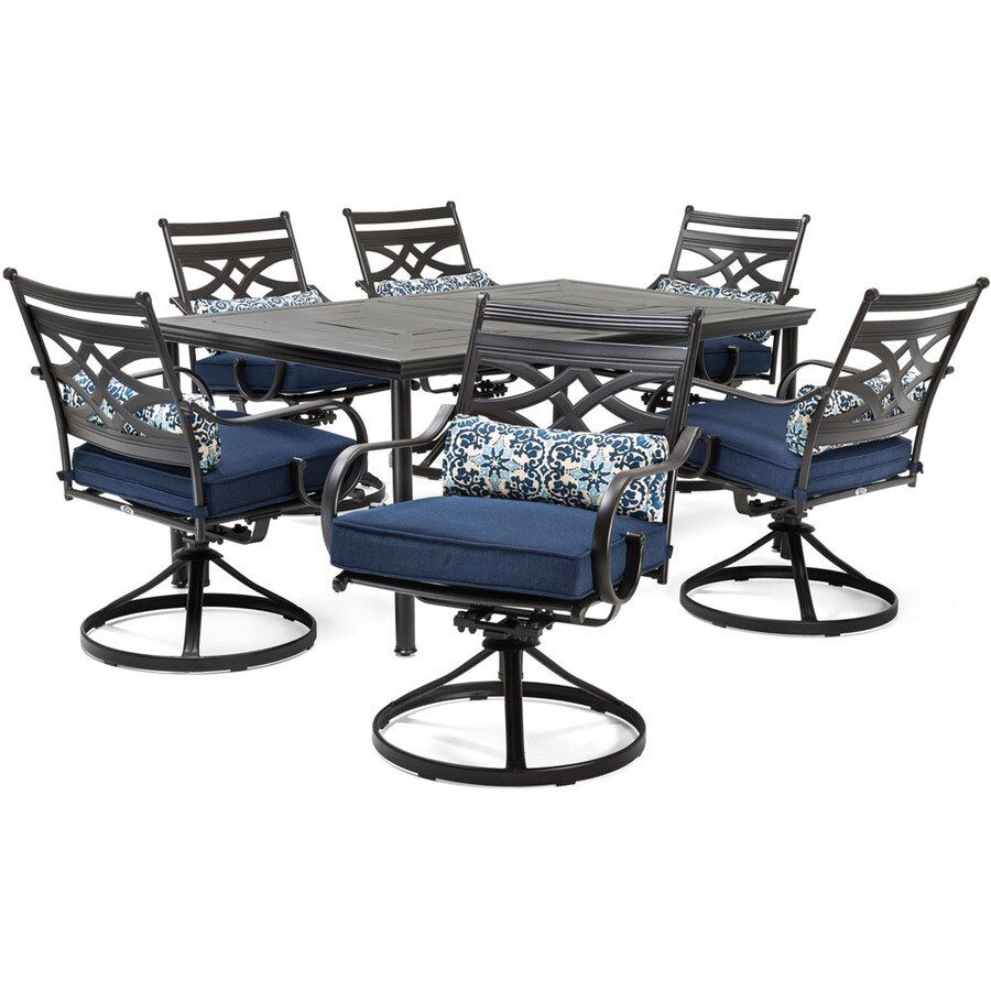 7 Piece Patio Set Hanover Montclair 7 Piece Brown Metal Frame Patio Set With Navy