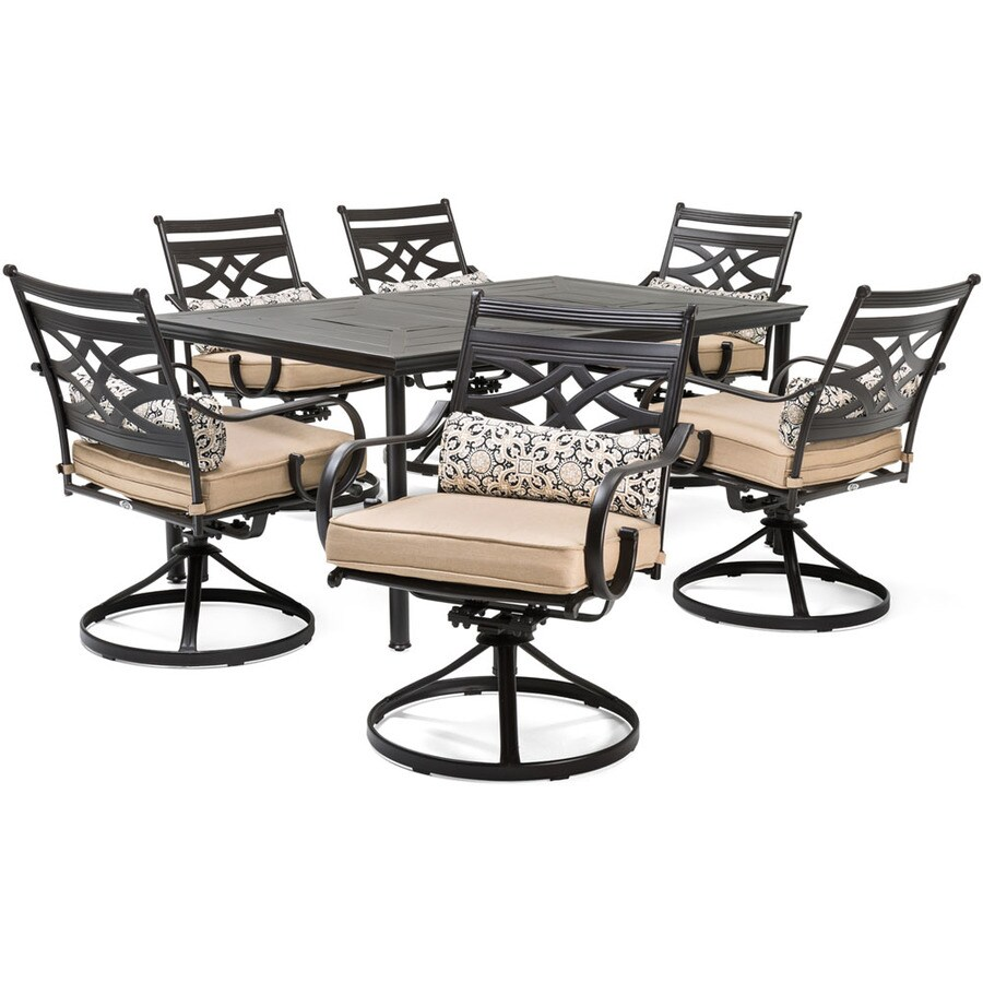 7 Piece Patio Set Hanover Montclair 7 Piece Brown Metal Frame Patio Set With Country
