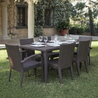 Shop Hospitality Rattan Soho 7-Piece Brown Wood Frame ...