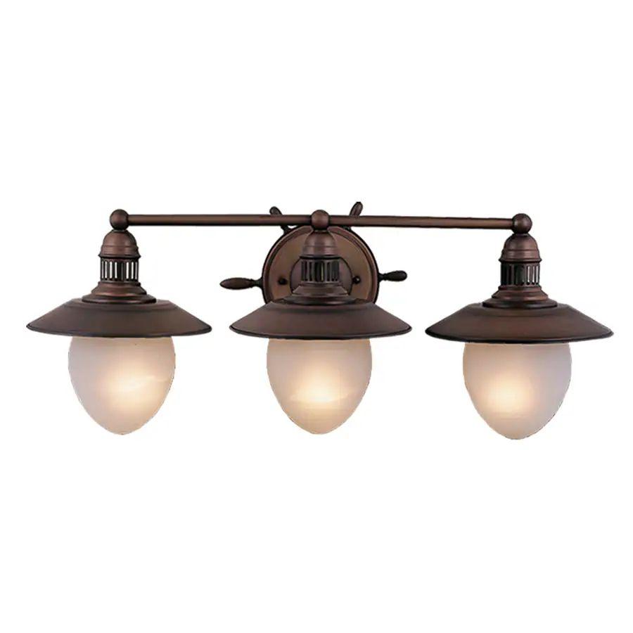 Cascadia lighting nautical 3 light 10 5 in antique red copper lantern vanity light
