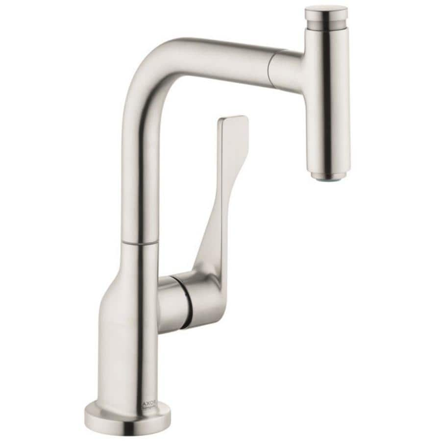 Hans Grohe Hansgrohe Axor Steel Optic 1 Handle Pull Out Kitchen Faucet At