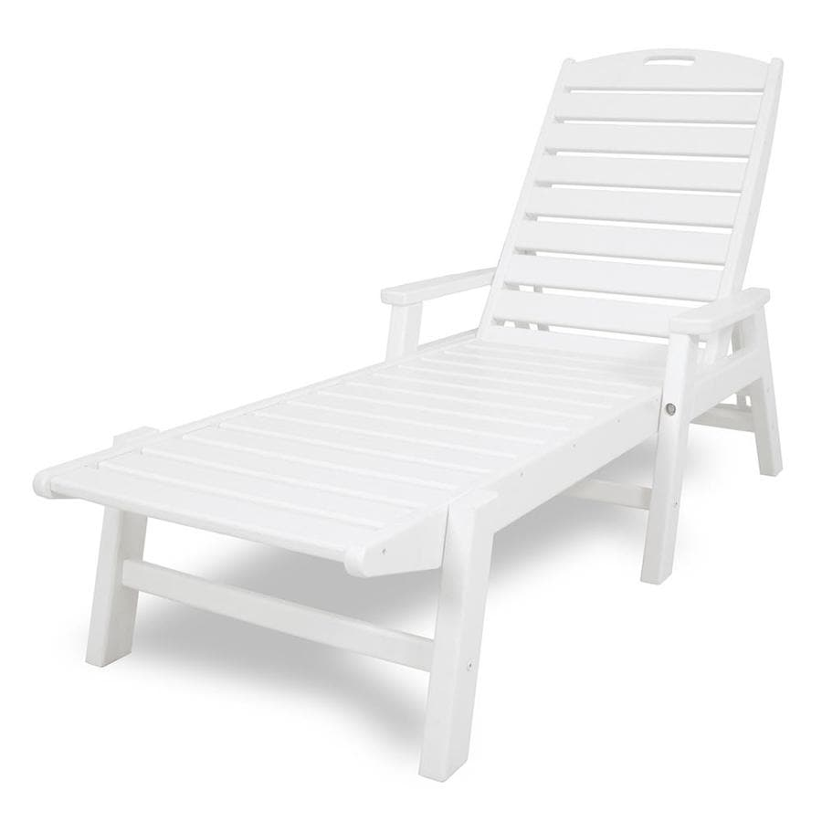 Shop Polywood Nautical White Plastic Patio Chaise Lounge