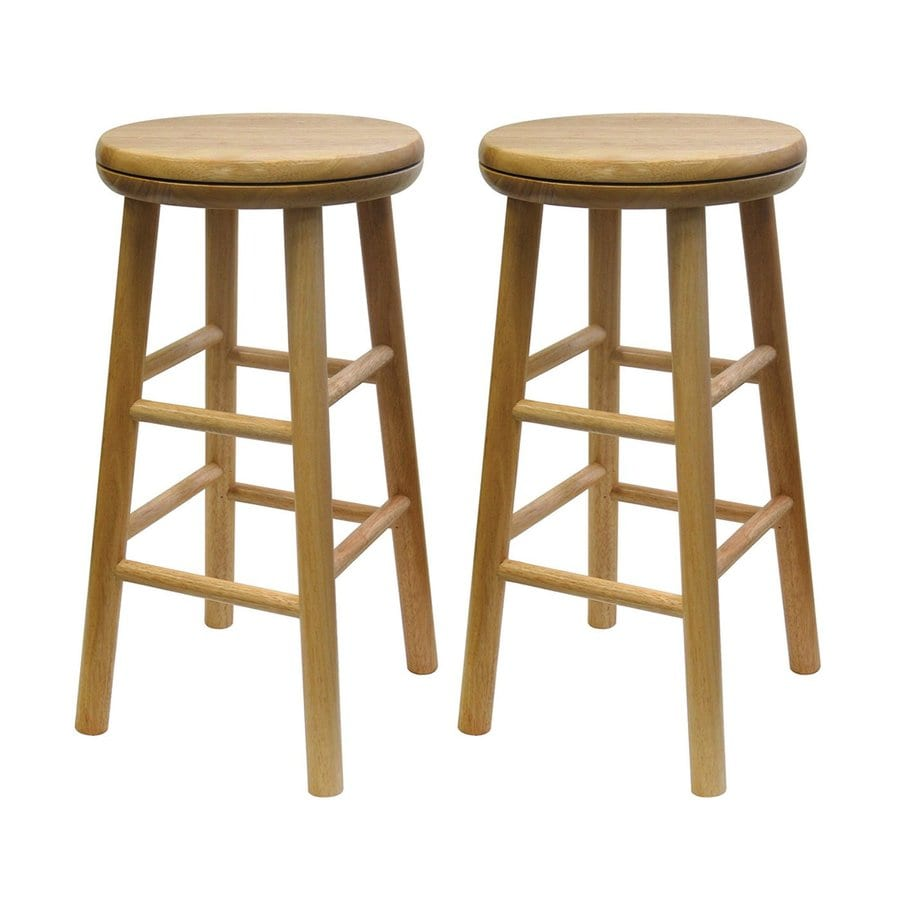 Wooden Kitchen Counter Stools Winsome Wood Set Of 2 Natural Counter Stools At Lowes