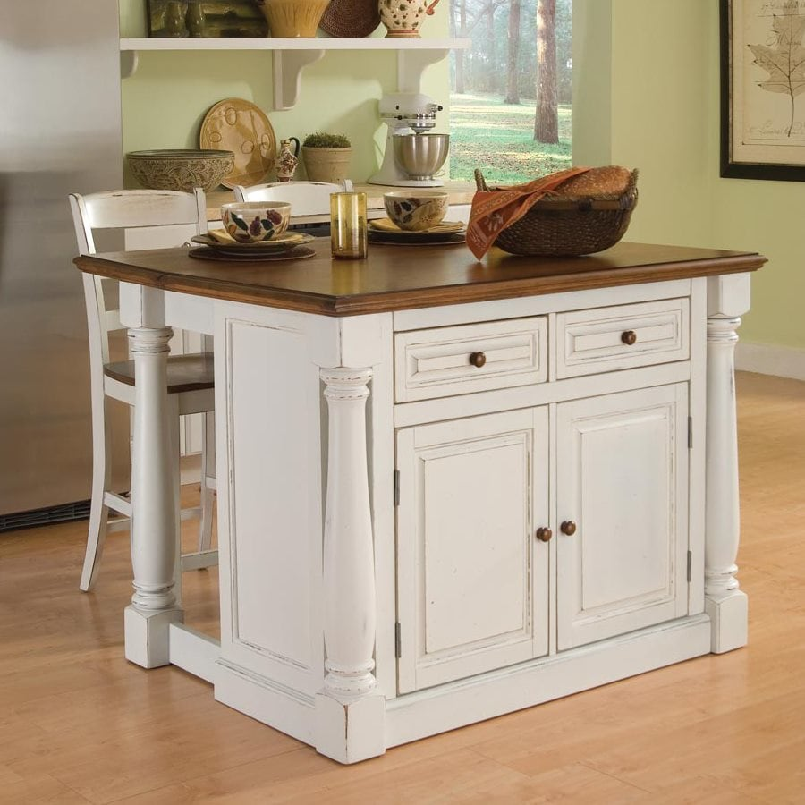 Stools Kitchen Islands Home Styles White Midcentury Kitchen Islands 2 Stools At Lowes