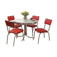 Shop TMS Furniture Retro Red Dining Set with Round Dining