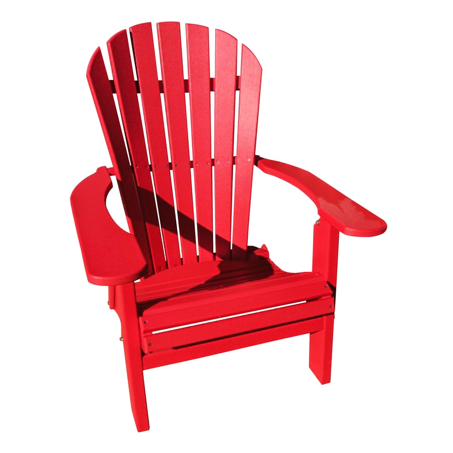 Engine red recycled poly folding patio adirondack chair at lowes com