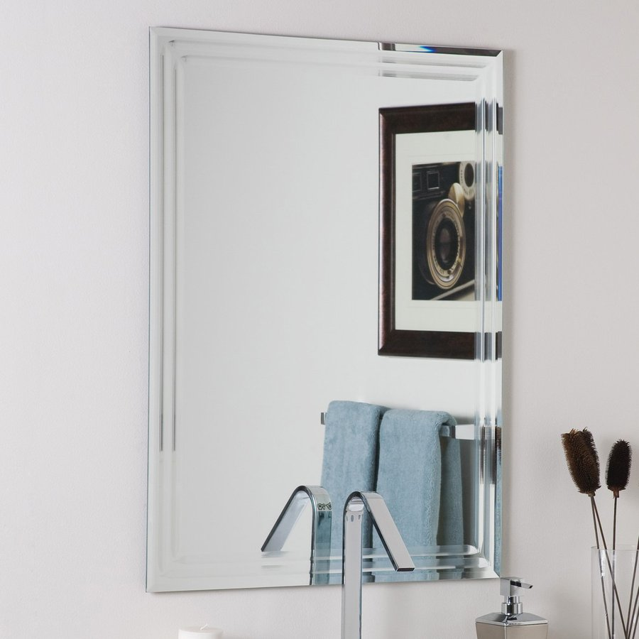 Decor wonderland 23 6 in w x 31 5 in h rectangular frameless bathroom mirror with