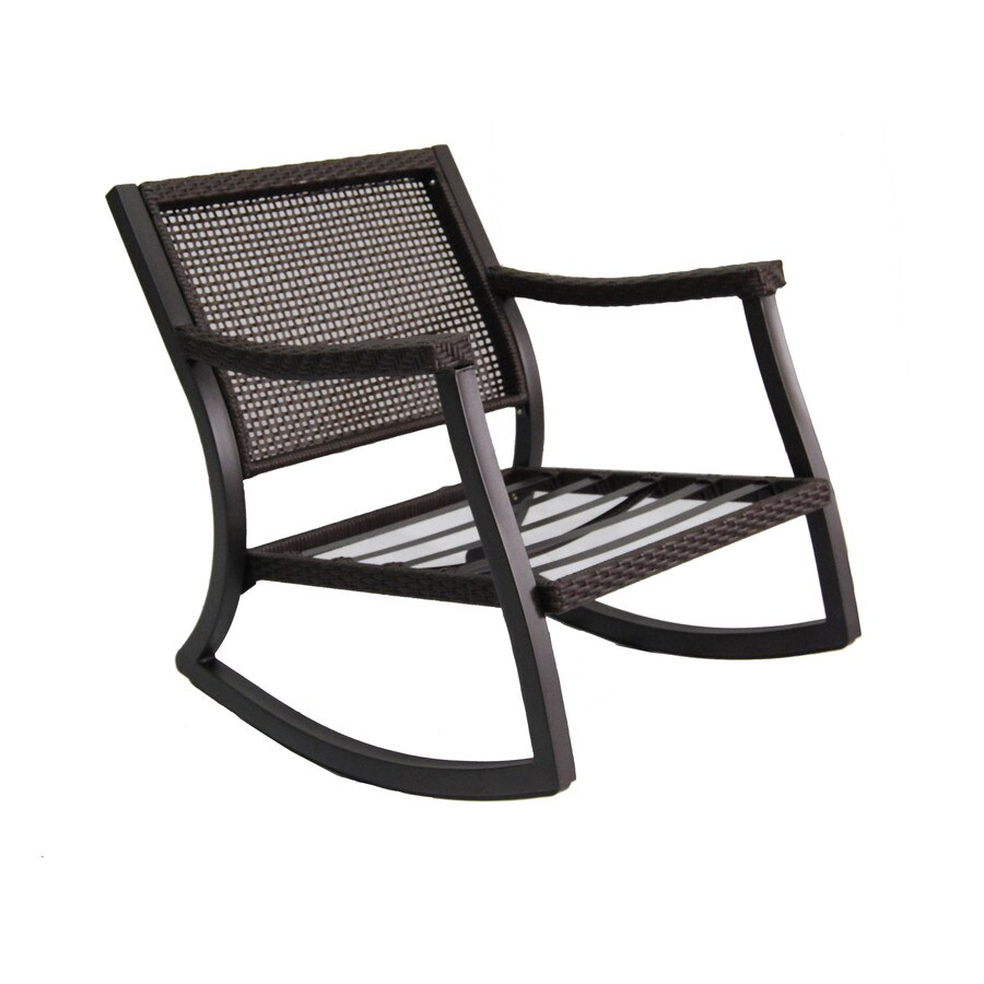 Patio Rocker Chairs Allen Roth Netley Brown Steel Slat Seat Patio Rocking Chair At