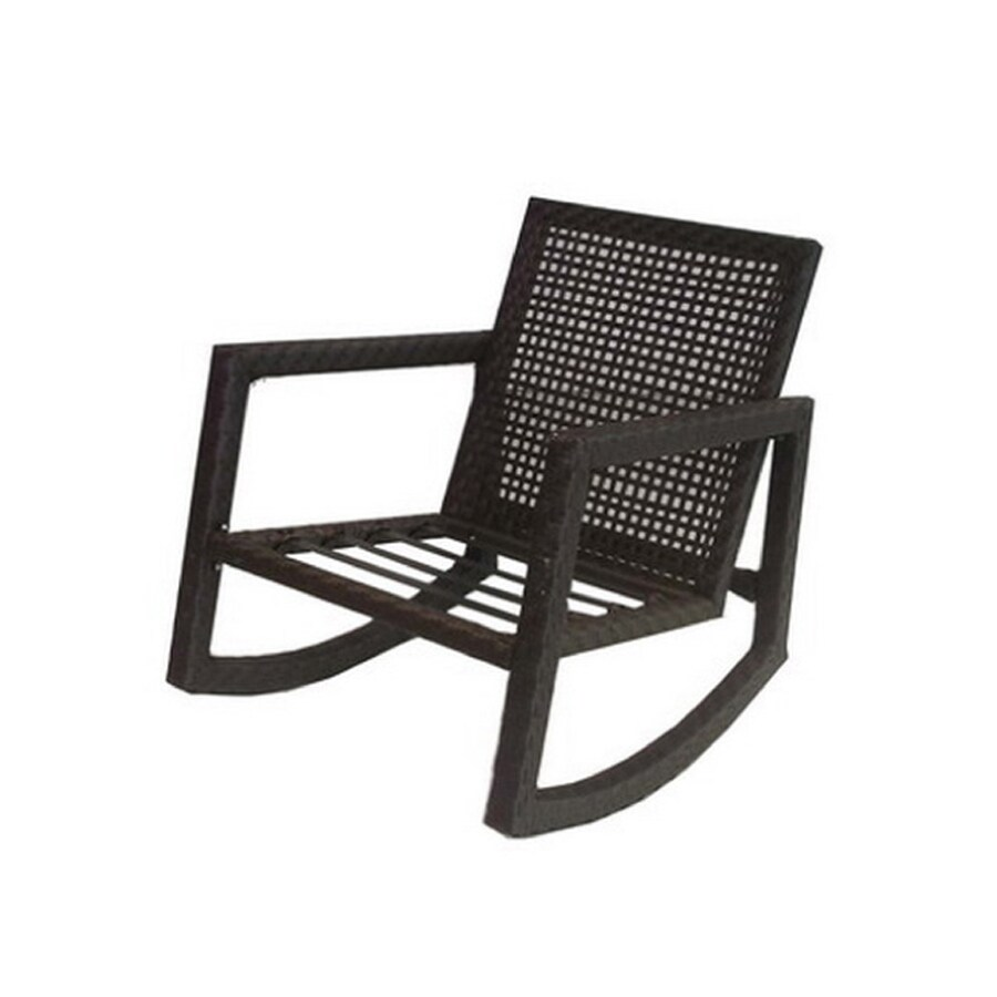 Patio Rocker Chairs Allen Roth Lawley Textured Black Steel Strap Seat Patio Rocking