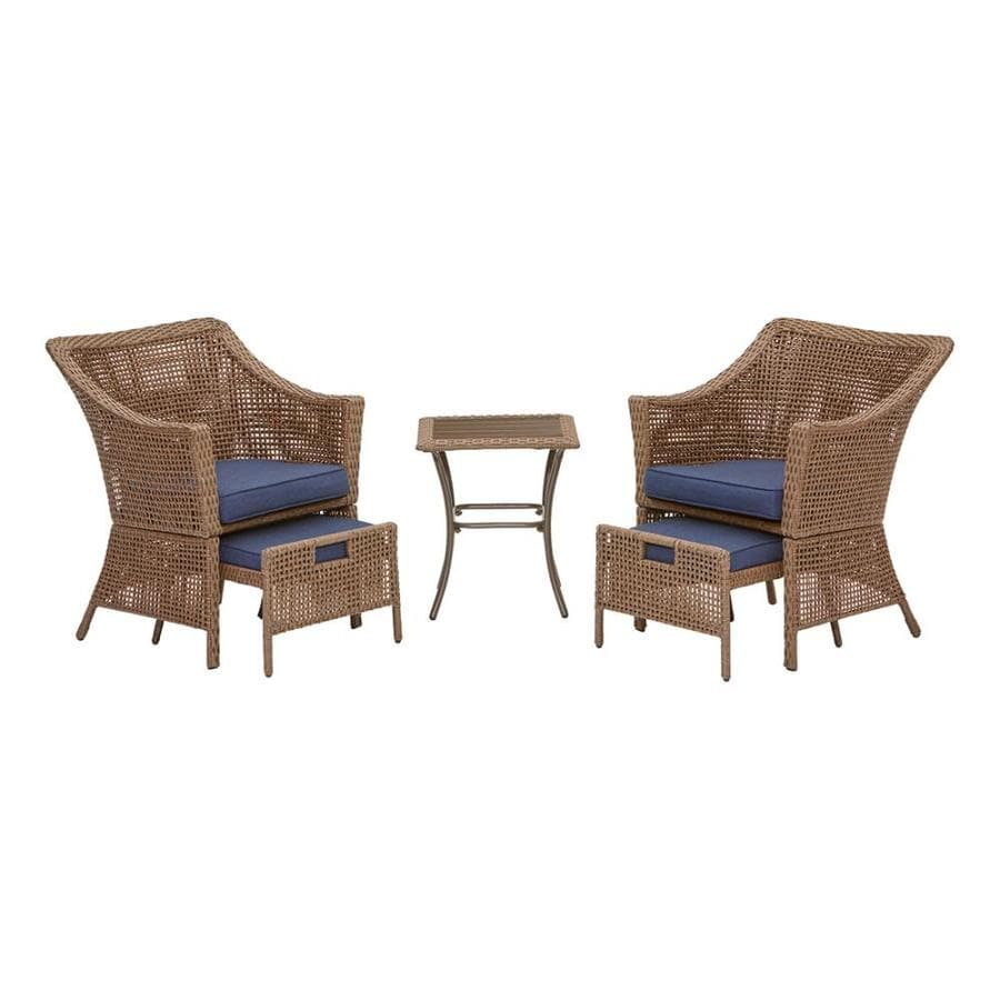 Garden Treasures Bay Garden 5 Piece Metal Frame Patio Conversation Set With Cushions In The Patio Conversation Sets Department At Lowes Com