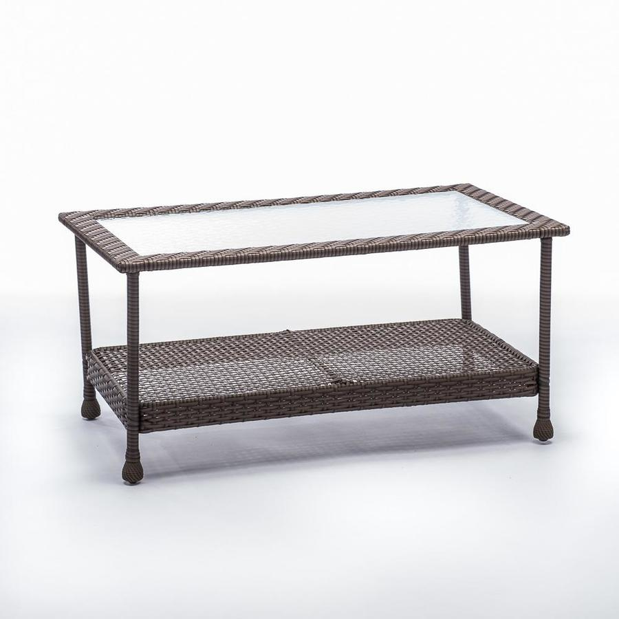 Shop allen + roth Glenlee Coffee Table Gray Wicker at