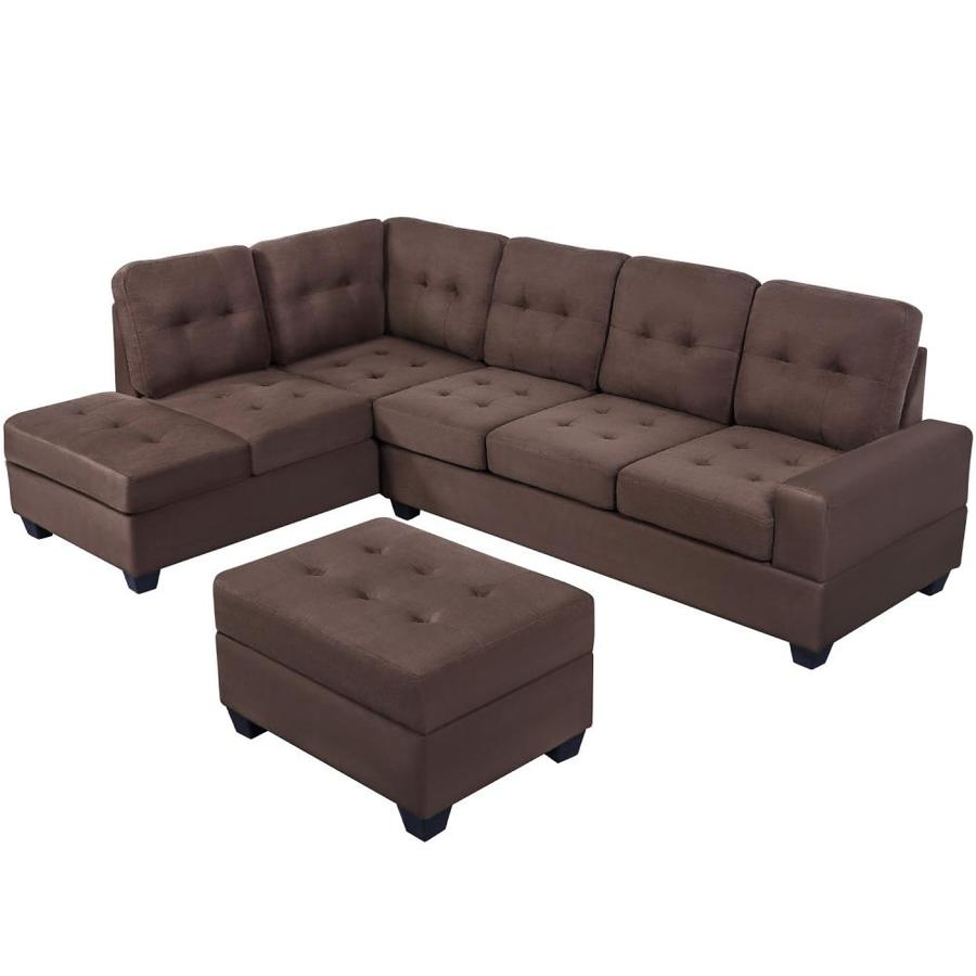 Casainc Brown 3 Piece Sectional Sofa Microfiber With Reversible Chaise Lounge Storage Ottoman And Cup Holders In The Living Room Sets Department At Lowes Com