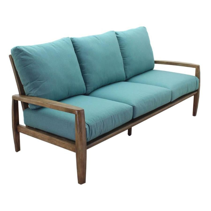Courtyard Casual Avalon Outdoor Sofa With Cushion S And Beige Teak Frame In The Patio Sectionals Sofas Department At Lowes Com