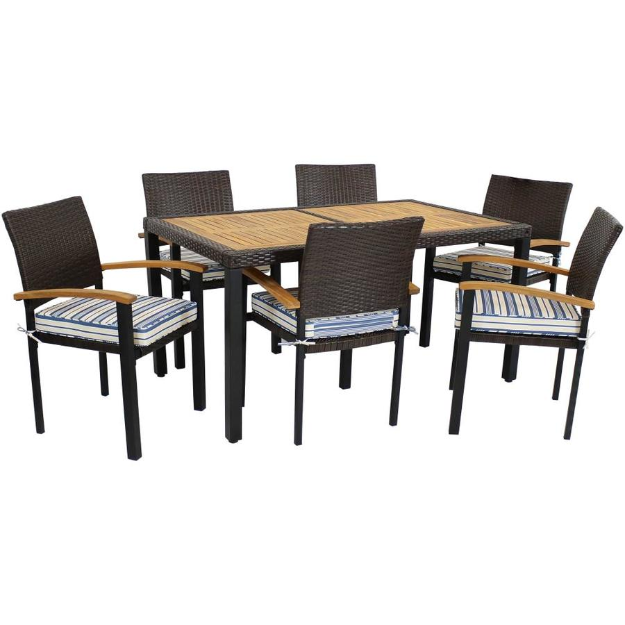 Sunnydaze Decor 7 Piece Brown Frame Patio Set With Cushions In The Patio Dining Sets Department At Lowes Com