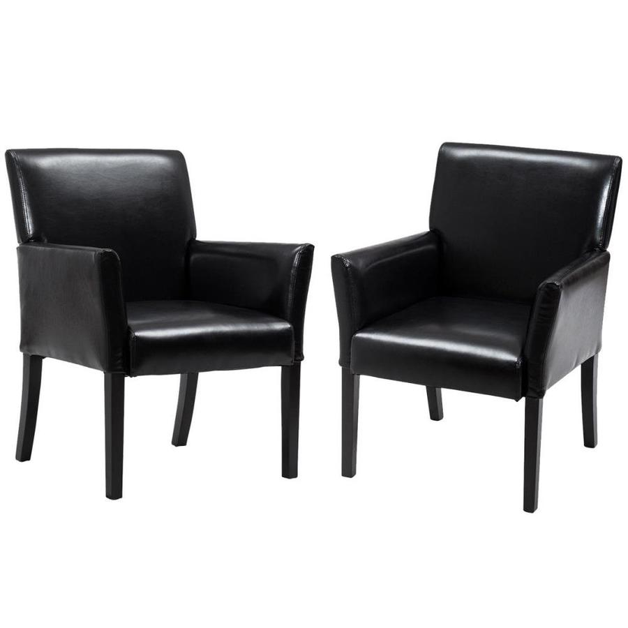 Goplus Set Of 2 Pu Leather Guest Chairs Reception Side Arm Chairs Upholstered Wood Leg In The Guest Reception Chairs Department At Lowes Com