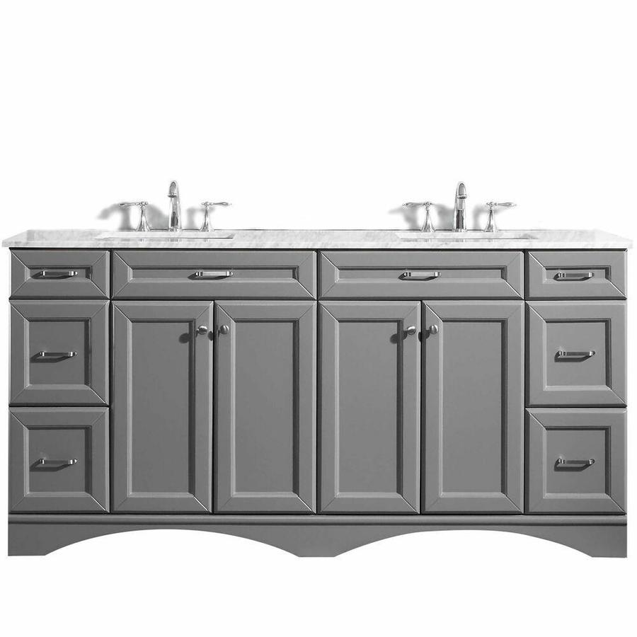 Vinnova Naples 72 In Grey Undermount Double Sink Bathroom Vanity With White Marble Top In The Bathroom Vanities With Tops Department At Lowes Com
