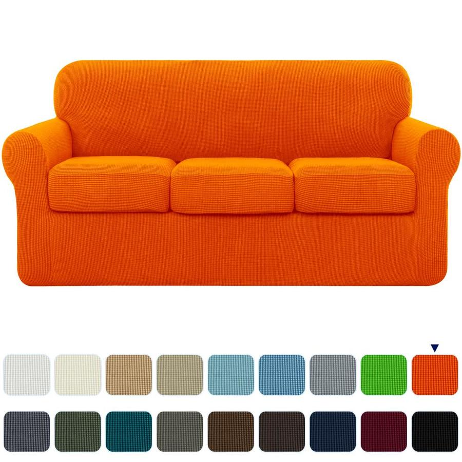 Subrtex Subrtex Sofa Cover High Stretch Textured Grid Couch Slipcover With Separate Cushion Couch Cover Soft Sofa Slipcover Furniture Protector Machine Washable Orange Large In The Slipcovers Department At Lowes Com