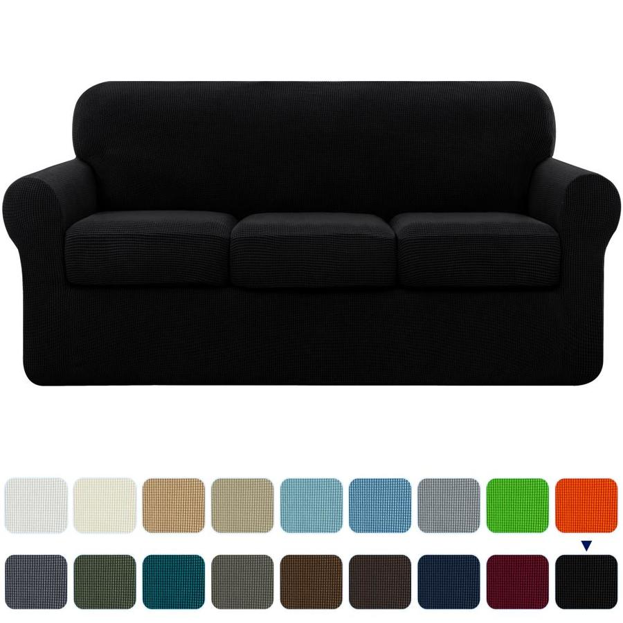 Subrtex Subrtex Sofa Cover High Stretch Textured Grid Couch Slipcover With Separate Cushion Couch Cover Soft Sofa Slipcover Furniture Protector Machine Washable Black Large In The Slipcovers Department At Lowes Com