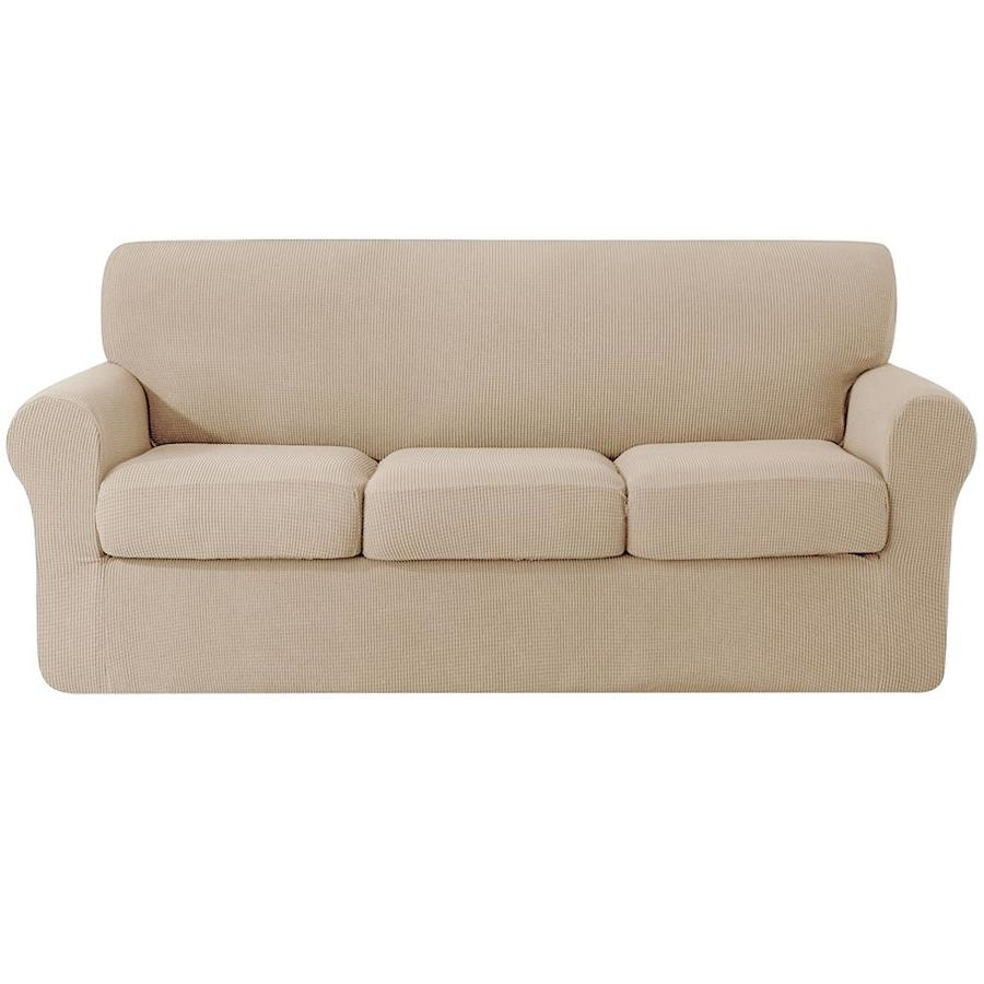 Subrtex Subrtex Sofa Cover High Stretch Textured Grid Couch Slipcover With Separate Cushion Couch Cover Soft Sofa Slipcover Furniture Protector Machine Washable Camel Large In The Slipcovers Department At Lowes Com
