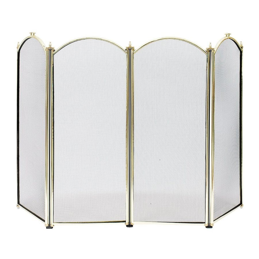 Brass Fireplace Screen Achla Designs 52 In Polished Brass Steel 4 Panel Arched No Doors