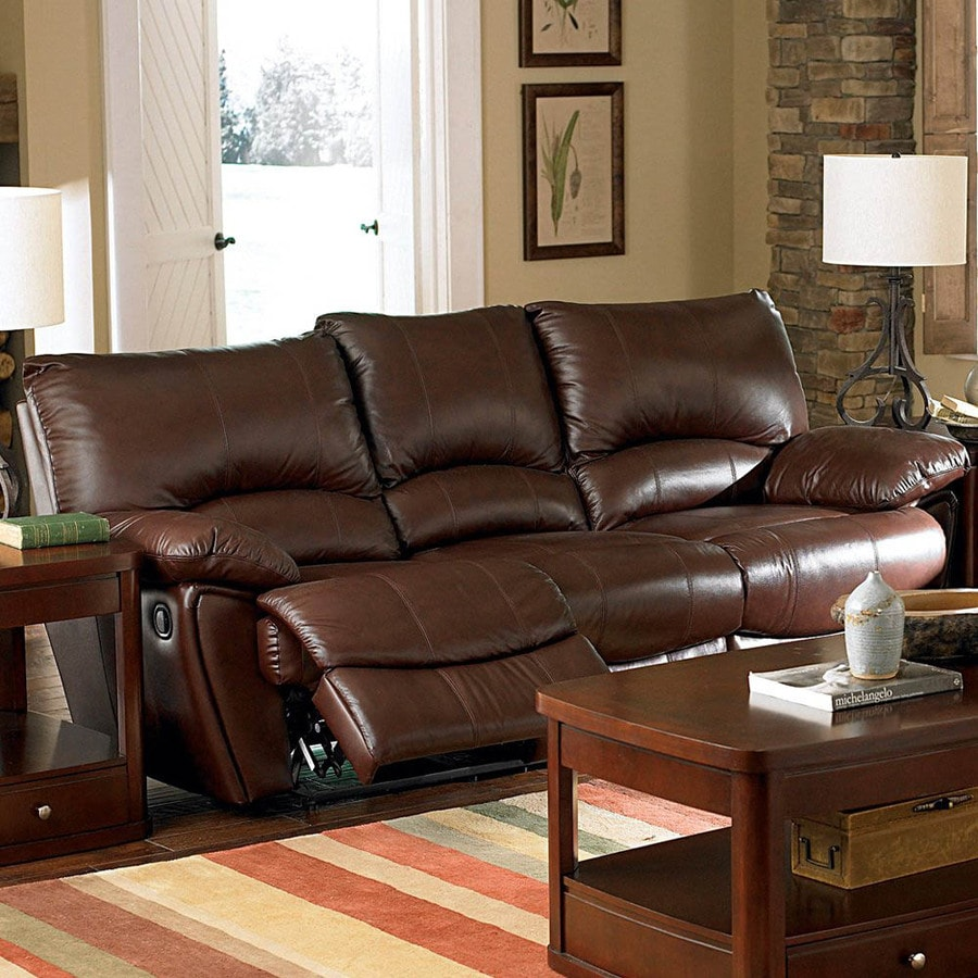Brown Real Leather Couch Coaster Fine Furniture Clifford Dark Brown Leather Sofa At Lowes
