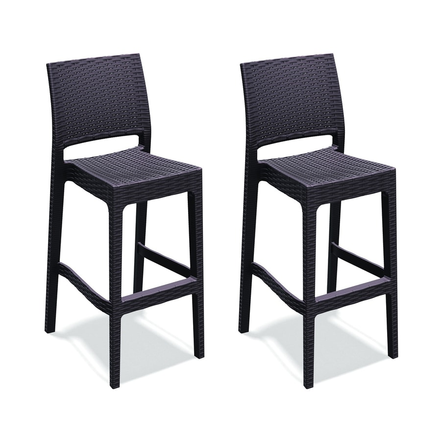 Bar Stool Chairs Compamia Jamacia Wickerlook Set Of 2 Wicker Stackable Resin Bar