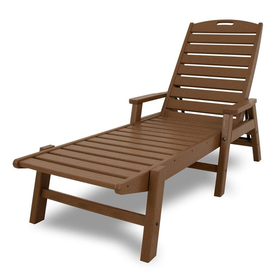 Shop Polywood Nautical Teak Plastic Patio Chaise Lounge - Outdoor Teak Loungers