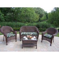 Shop Oakland Living Resin Wicker 4-Piece Wicker Patio ...