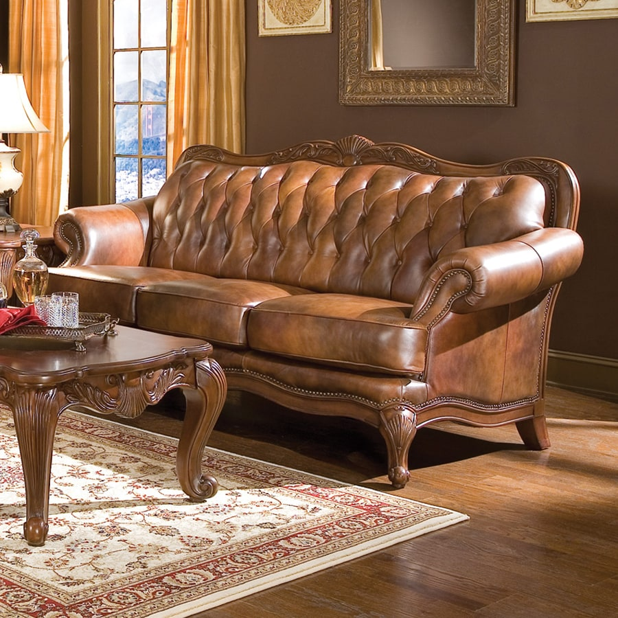 Brown Real Leather Couch Coaster Fine Furniture Victoria Victorian Brown Genuine Leather