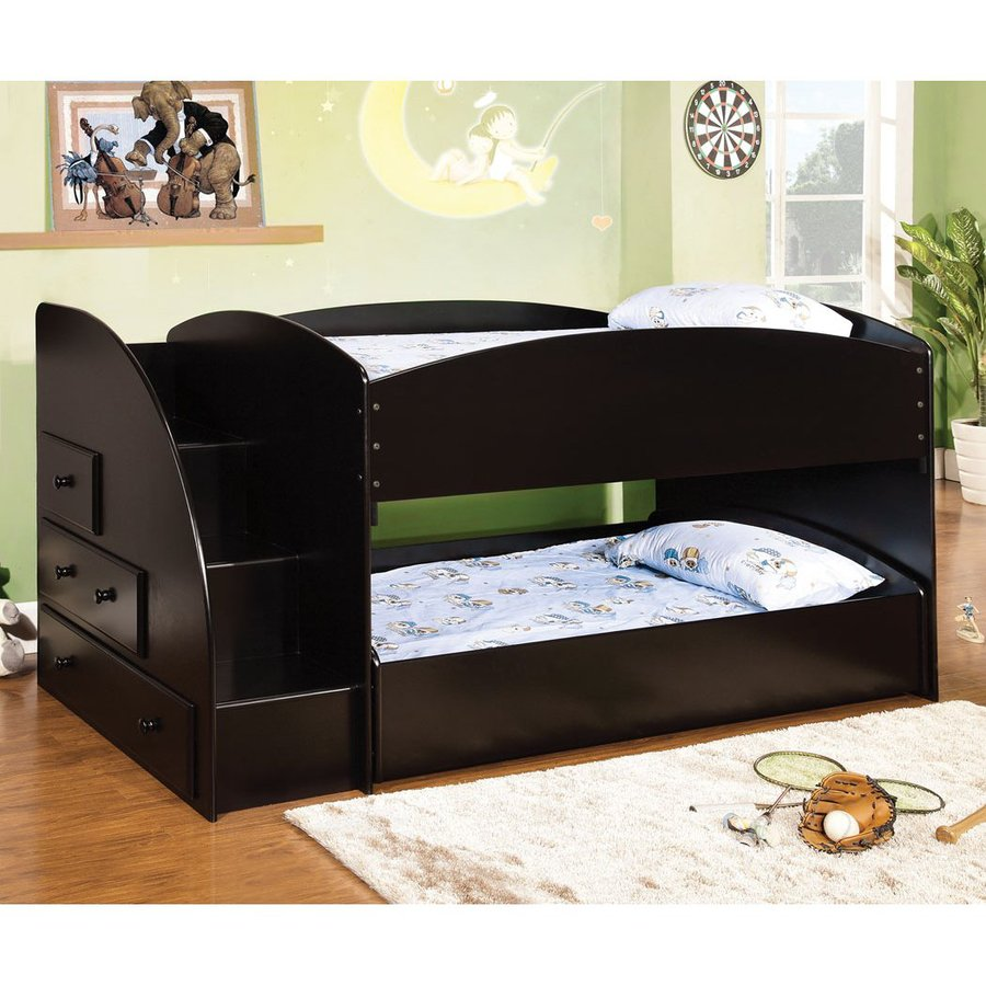 Sweet Drawers America Merritt Black Twin Over Twin Bunk Bed At Bunk Bed Trundle America Merritt Black Twin Over Twin Bunk Bed Shop Furniture Furniture Trundle Desk Desk Bunk Bed houzz-02 Bunk Bed With Trundle